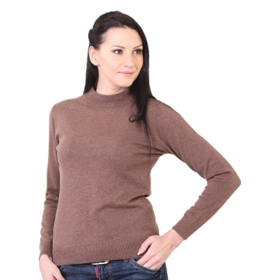 Kalt Solid Turtle Neck Casual Women's Cotton Sweater