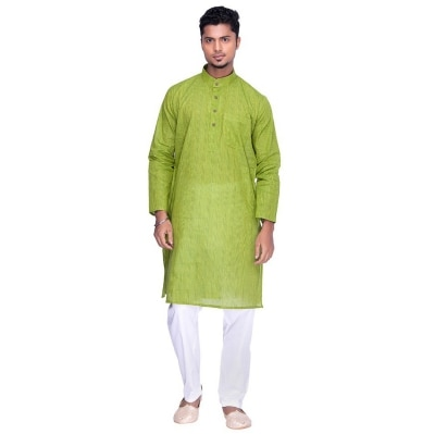 Khadi Green Kurta Pyjama Set