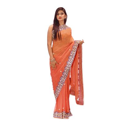 Kinari Bazar Embroidered Georgette Orange Saree available at Paytm for Rs.15000
