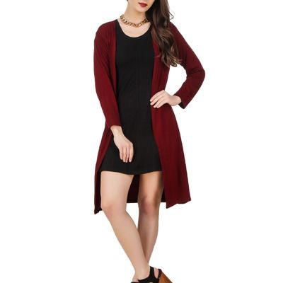 Knee Length Plain Shrug-Maroon