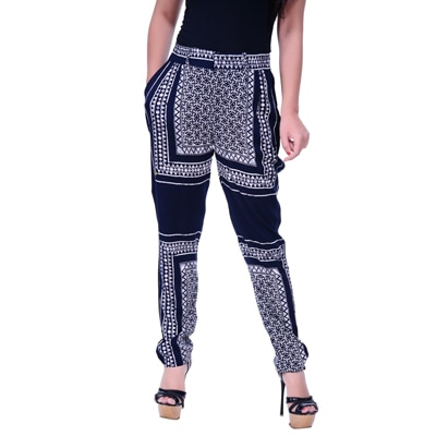 Lamora White And Blue Polyester Pant