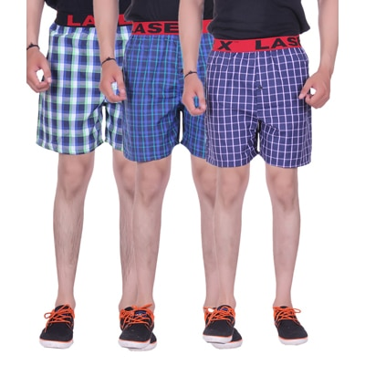 Laser X Assorted Cotton Pack Of 3 Boxer