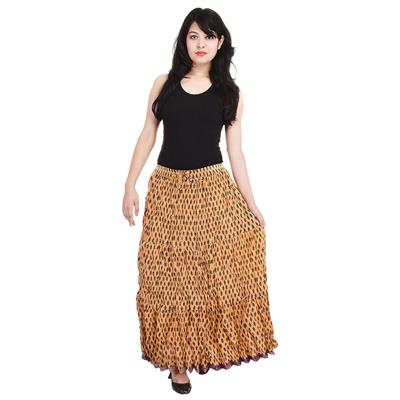 Little India Designer Rajasthani Yellow Cotton Long Skirt 227-