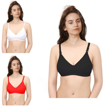 London Fashion Black White and Red Bra Pack of 3