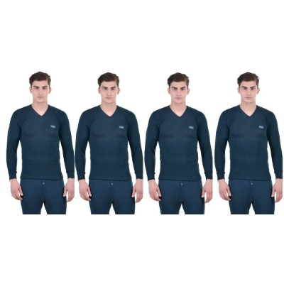 Lux Cottswool Men's Full Sleeves Blue V Neck Thermal Upper Pack Of 4