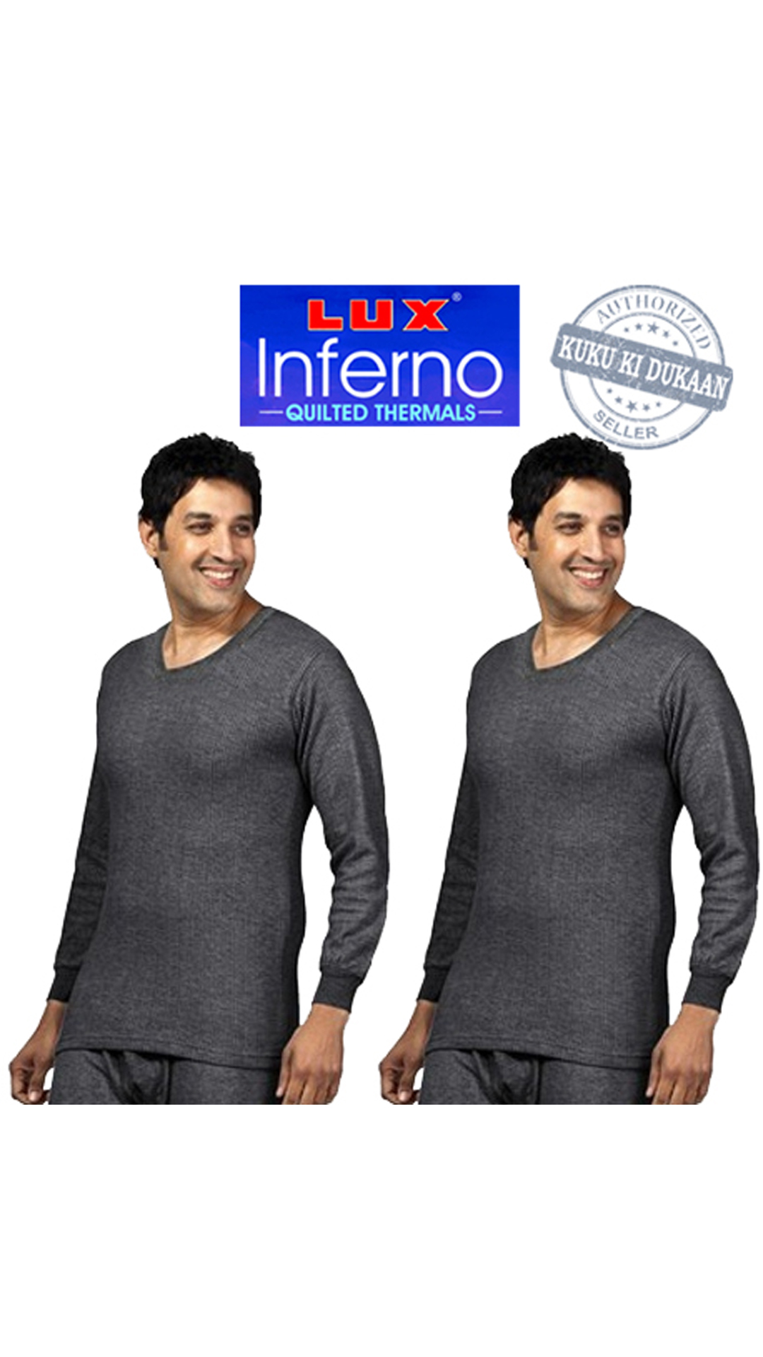 Lux Inferno Grey Cotton Pack Of 2 Thermal Vest