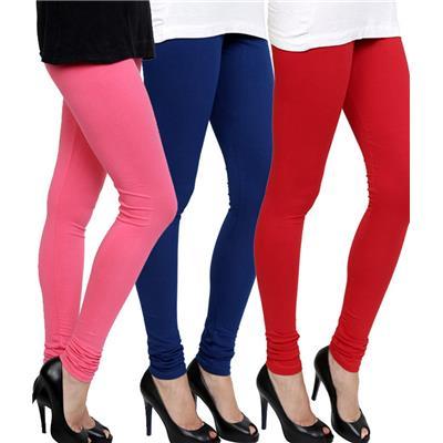 Lycra Multi Color Cotton Leggings Pack Of 3