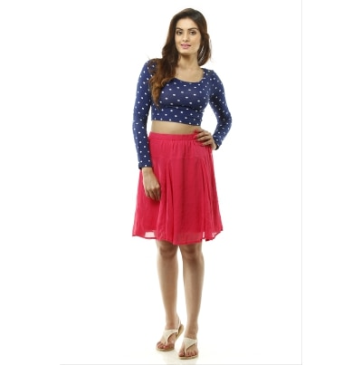 Lyla Knee length Pink Georgette Skirt