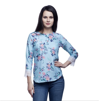 Mallory Winston Ligth Blue Floral Print  Women's Top