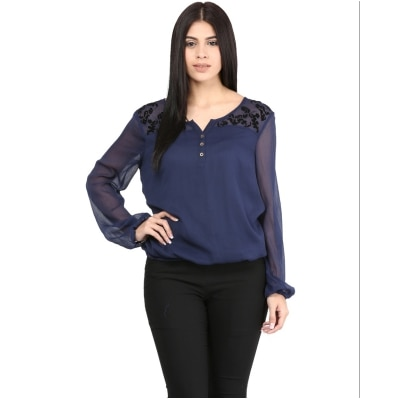 MAYRA NAVY BLUE SOLID FULL SLEEVES TOP