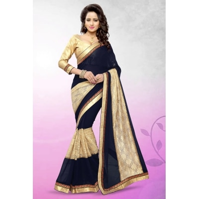 Mirchi Fashion Stylish Navy Blue And Beige Net Jacquard And Faux Georgette Party Wear Saree