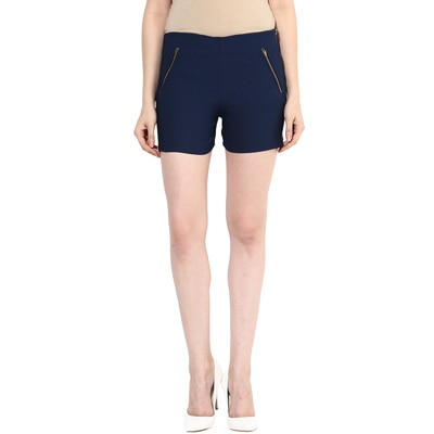 Miss Chase Blue Cotton Shorts