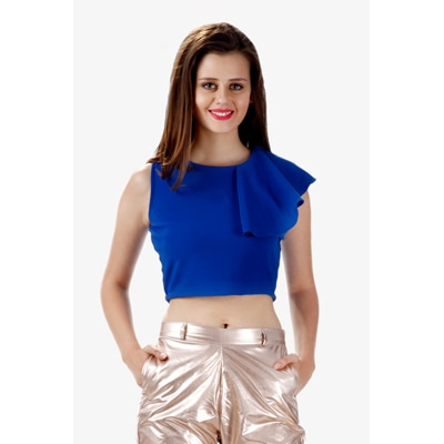 Miss Chase Blue Polyester Top