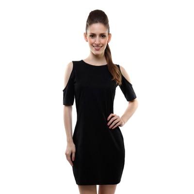 Miss Chase Black Half Sleeves Dress