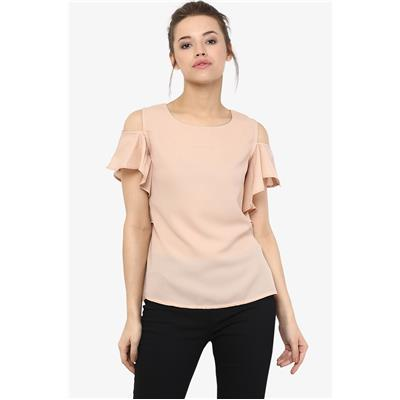 Miss Chase Beige Shoulder CutOut Short Sleeve Solid Loose Fit Ruffled Tops