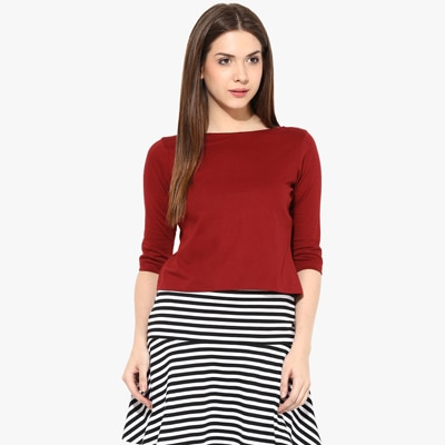 Miss Chase Maroon Cotton Top