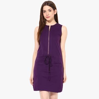 Miss Chase Purple Cotton Dress