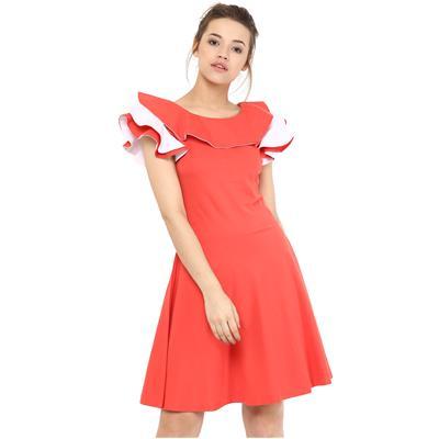 Miss Chase Women's Coral & White Sleeveless Mini Skater Dress