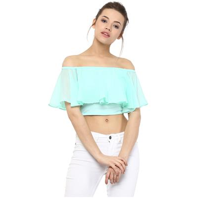 Miss Chase Women's Mint Green Solid Off Shoulder Crop Top