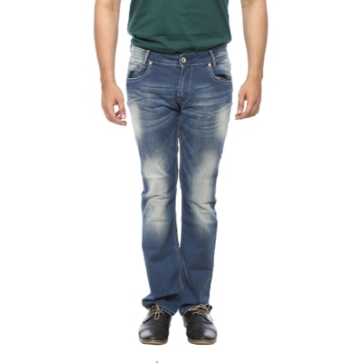 Mufti Mens Blue Boot Cut Fit Mid Rise Jeans