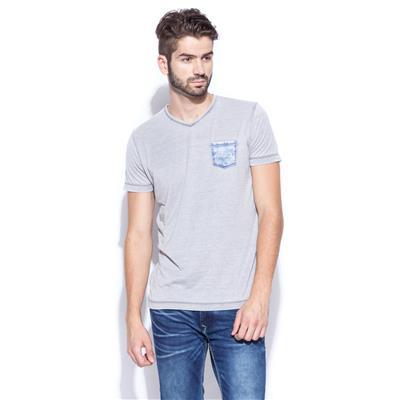 Mufti Mens Grey Slim Fit Mid Rise Tshirts