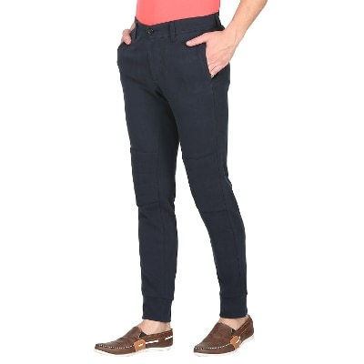Mufti Mens Navy Sports Fit Mid Rise Joggers