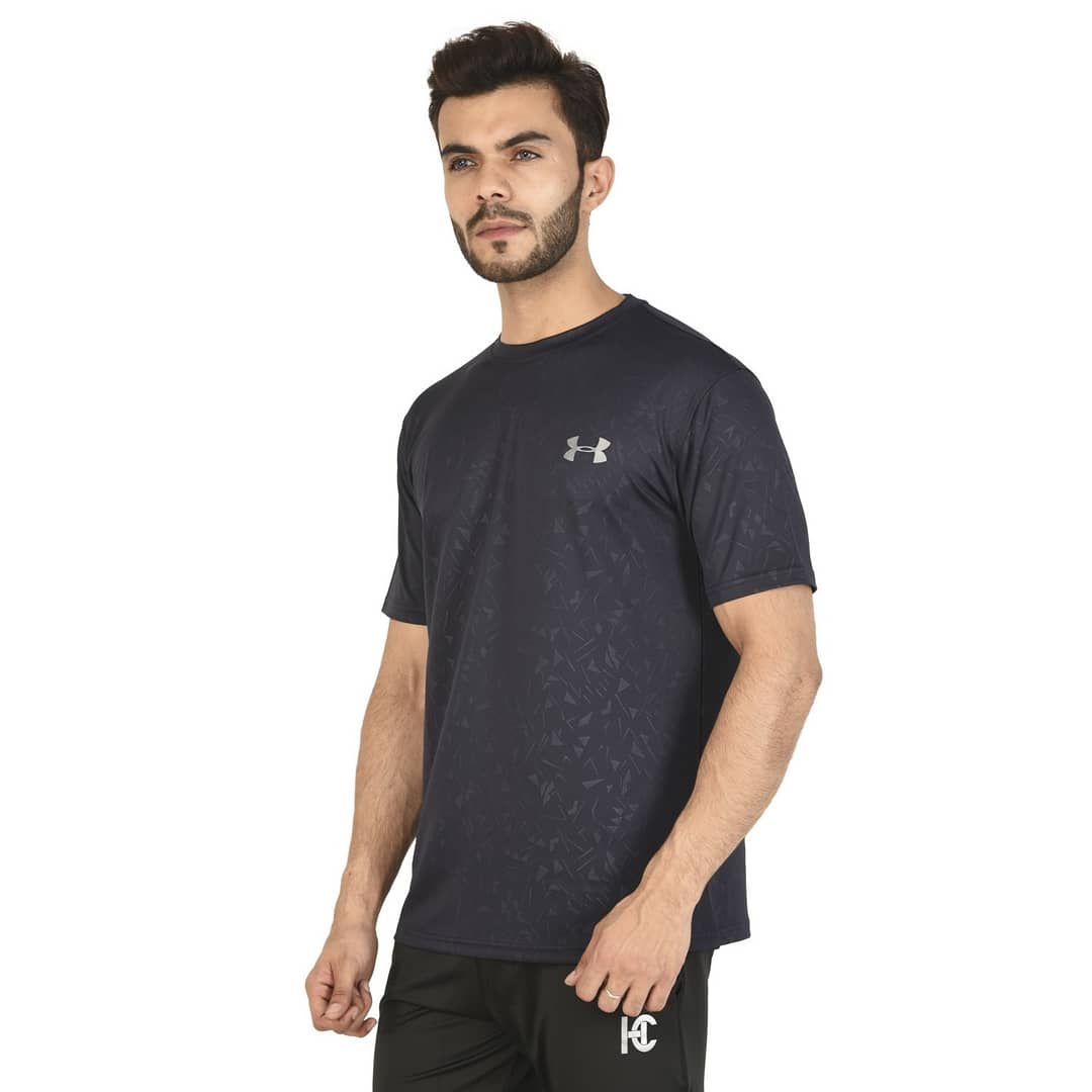 Navy Blue Sporty Activewear Round Neck T-Shirt