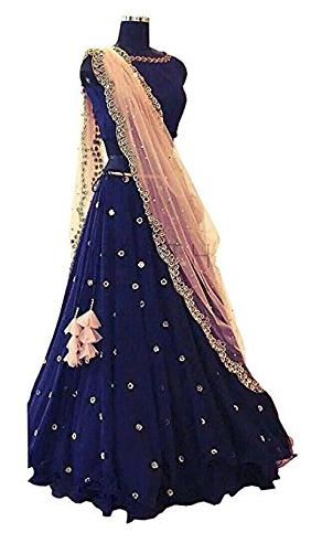 LOROFY Silk Chevron Flared Lehenga Choli - Blue