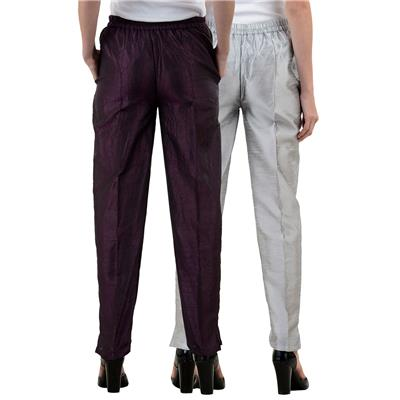 NumBrave Purple,Silver Raw Silk Pants