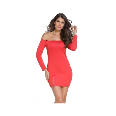 Off-shoulder Zipped Slit Mini Dress