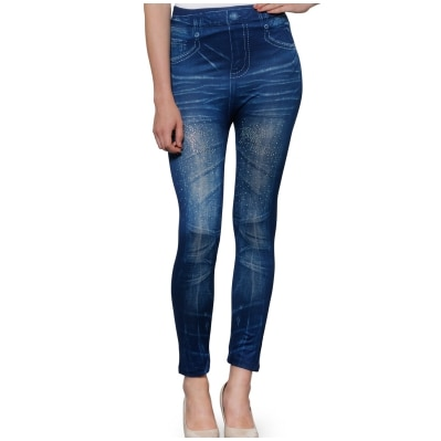 Oleva Crystal Denim Style Printed Jeggings Blue
