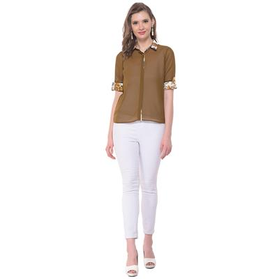 Olive Green Sheer Shirt with Roll Up Sleeves