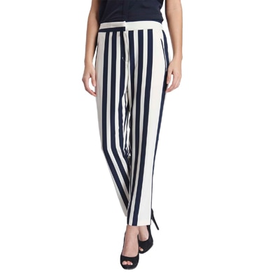 Only Blue And White Polyester Trouser