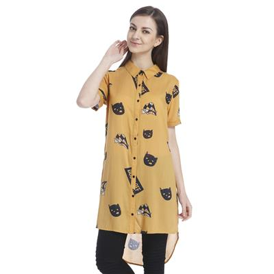 Only Women's Yellow Casual Printed Shirt