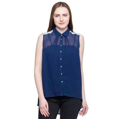 OXOLLOXO Blue Polyester Casual Shirt