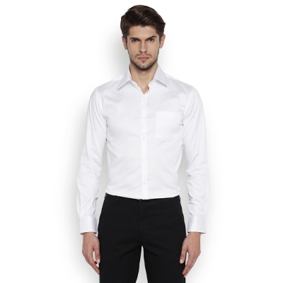Park Avenue Men White Cotton Slim Fit Shirts
