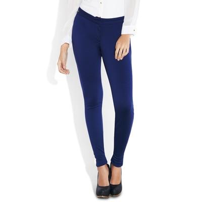 Park Avenue Blue Blended And Viscose Formal Super Slim Fit Trouser