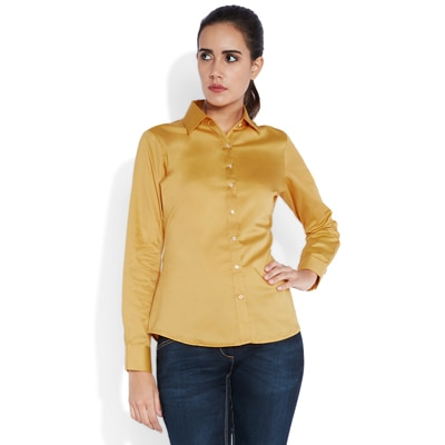 Park Avenue Yellow Cotton Casual Shirt
