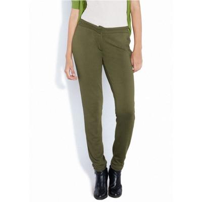 Park Avenue Dark Green Viscose And Blended Trouser