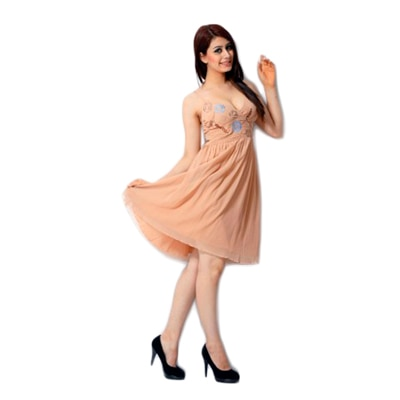 Peach Color Embroidred Dress