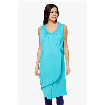 Penny by Zivame Made For Moms Sleeveless Maternity And Nursing Dress-Blue