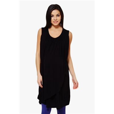Penny by Zivame Made For Moms Sleeveless Maternity And Nursing Dress-Black