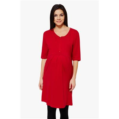 Penny by Zivame Made For Moms Pleated Front Maternity And Nursing Dress-Red
