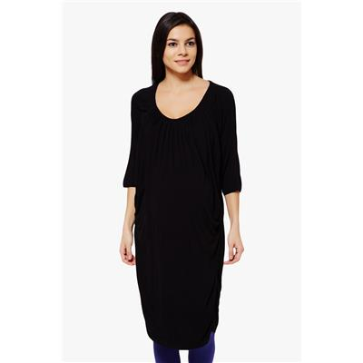 Penny by Zivame Made For Moms Gathered Front Maternity And Nursing Dress-Black