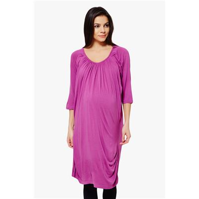 Penny by Zivame Made For Moms Gathered Front Maternity And Nursing Dress-Purple