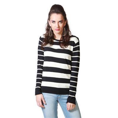 People Cotton Black Stripe Regular Fit Casual Top