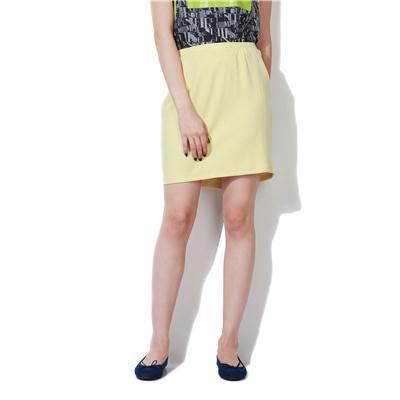 People Yellow Cotton Lycra Blend Skirts