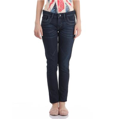 Pepe Jeans Women's Solid Dark Blue Jeans