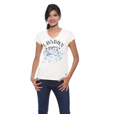 Pepe Jeans Womens White Slim Fit Tops (Large)