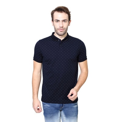 Peter England Navy Blue Cotton And Polyester T-Shirt